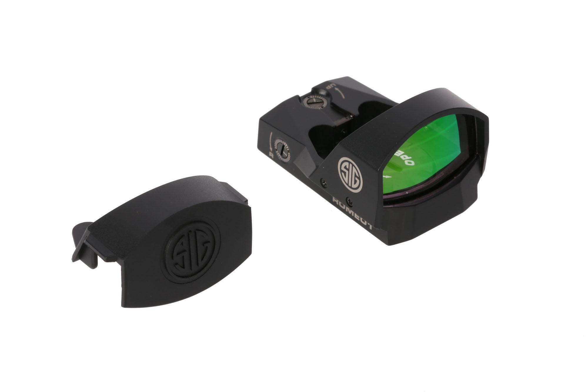 The sig sauer romeo 1 red dot sight comes with rubber lens cover
