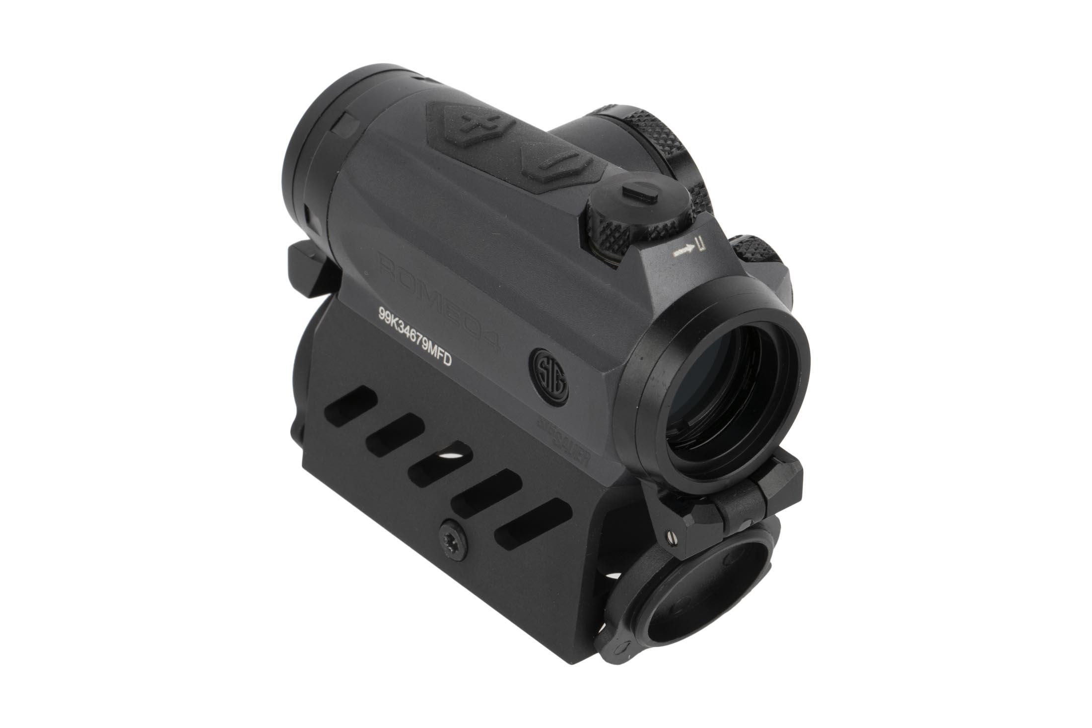 SIG Sauer 2 MOA Romeo 4M red dot sight is powered by standard a single CR2032 battery and has flip caps