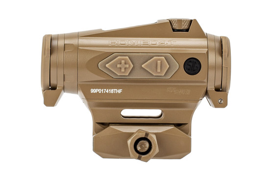 SIG ROMEO4T red dot sight FDE features push button illumination settings