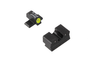 Trijicon HD Night Sights for Springfield XDs pistols feature a photoluminescent yellow ring around the front lamp with blacked out rear lamps.