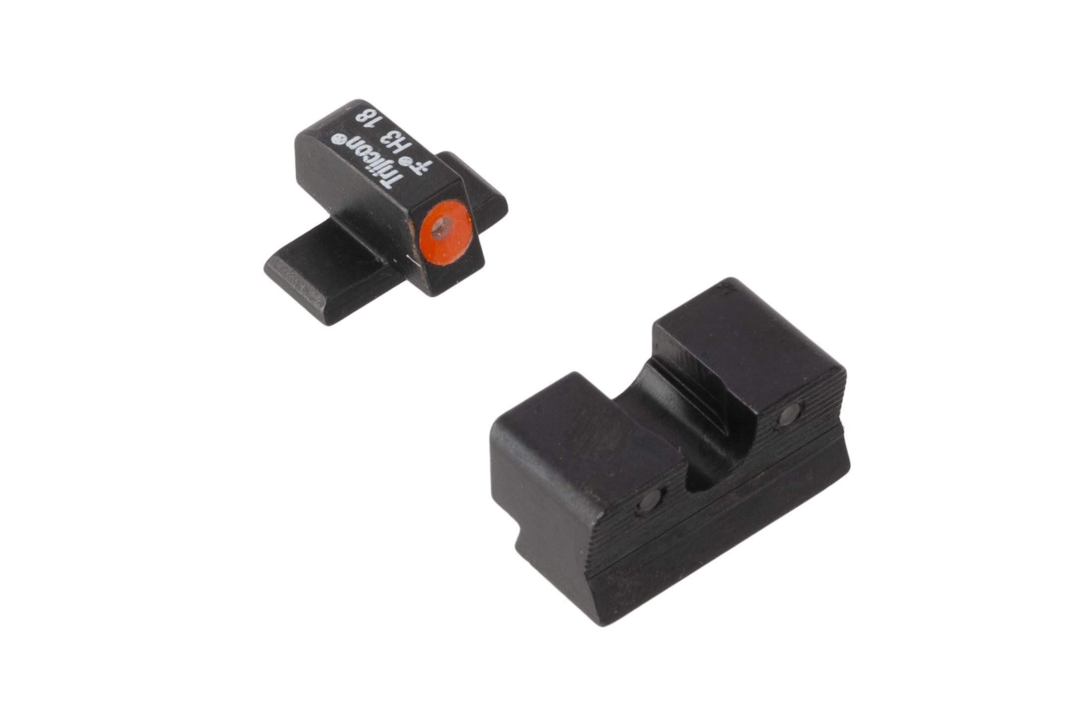 Trijicon HD Night Sights for Springfield XDs pistols feature a photoluminescent orange ring around the front lamp with blacked out rear lamps.
