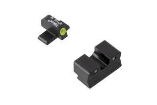 Trijicon HD XR Springfield XDs night sights feature a blacked out rear sight with wide U-notch and hi-vis yellow front sight with tritium inserts.