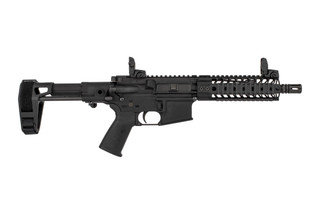 Spike's Tactical 8.1in AR-15 pistol is chambered for 5.56 NATO and equipped with quad rail and Maxim Defense pistol arm brace