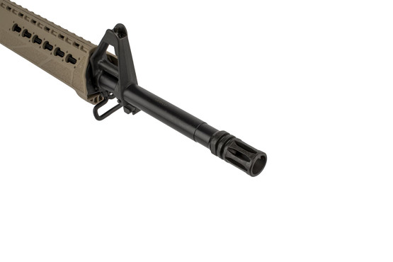 Springfield Armory FDE SAINT 16in AR15 chambered for 5.56 NATO features an M4 fixed front sight and is threaded 1/2x28 with an effective A2 flash hider