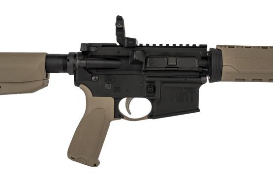 "Springfield Armoy 16"" AR 15 is clearly labeled SAINT on the magazine well, and equipped with an ALG Defense ACT trigger"