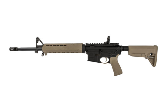 "Springfield Armory 16"" 5.56 NATO SAINT rifle with FDE furniture uses a smooth-shooting mid-length gas system"