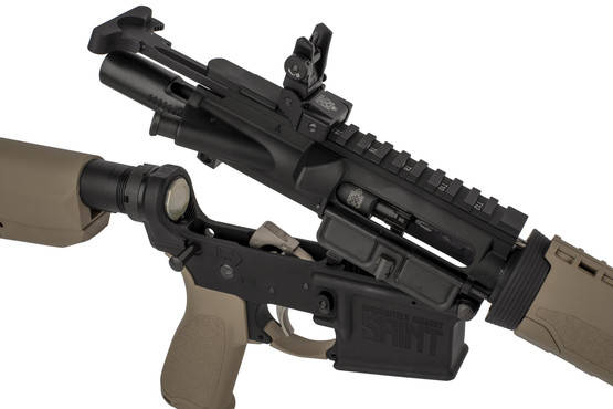 Springfield Armory SAINT AR 15 with 16in 5.56 NATO barrel featues an M16-cut bolt carrier group and heavy carbine buffer.