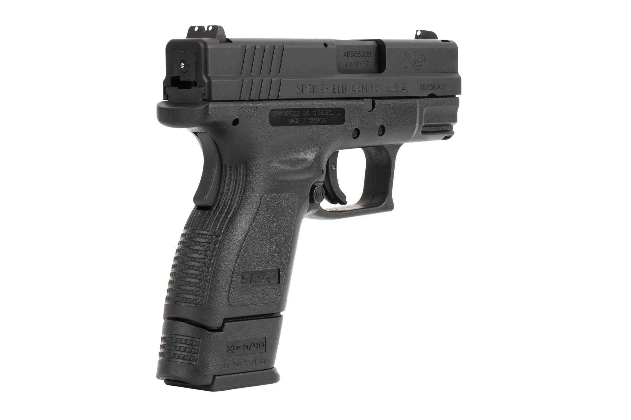 The Springfield Armory XD9 is a 9mm Sub Compact 16 round Handgun with a striker fired mechanism