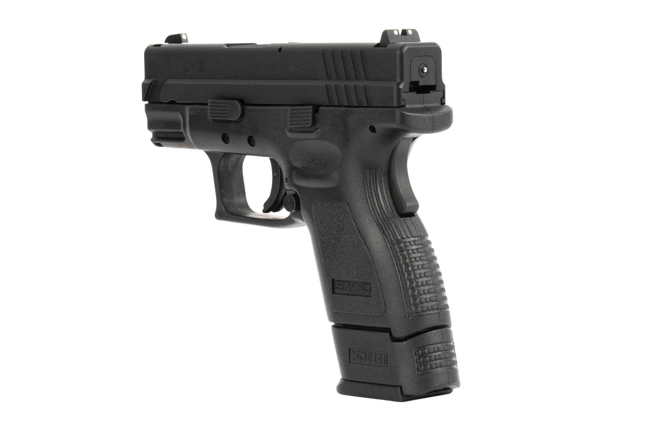 The Springfield Armory XD9 is a 9mm Sub Compact 16 round Handgun with three dot iron sights