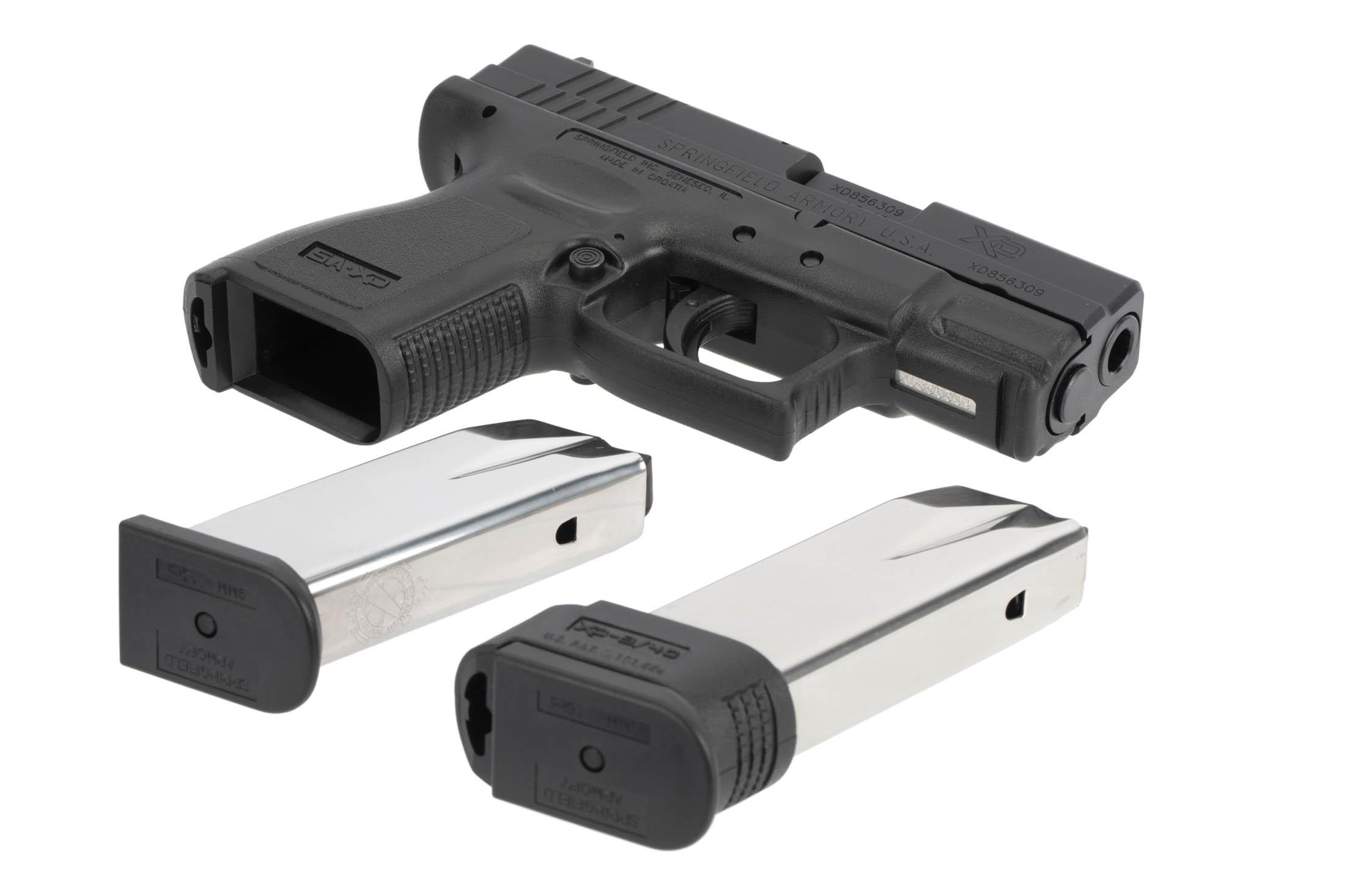 The Springfield Armory XD9 is a 9mm Sub Compact 16 round Handgun with two magazines