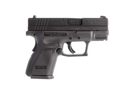 Springfield Armory sub-compact XD9 polymer pistol holds 10-rounds of 9x19mm and features a grip safety for extr apeice of mind