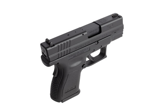 Springield XD9 subcompact 9mm handgun features fast 3-dot iron sights and a striker indicator