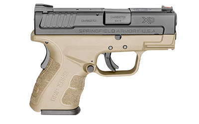 The Springfield Armory XD MOD.2 is a 9mm Sub Compact 16 round Handgun with a 3 inch Barrel and flat dark earth polymer frame designed for concealed carry