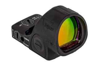 Trijicon SRO micro reflex sight featuers an enlarged window for wide field of view cowitnessing with iron sights