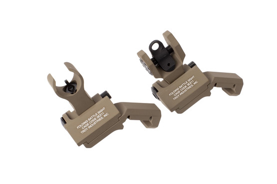 The Troy Industries 45 degree iron sights feature a flat dark earth finish