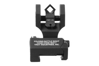 The Troy Industries Folding Rear BattleSight with Di-Optic Apertures features a black anodized finish
