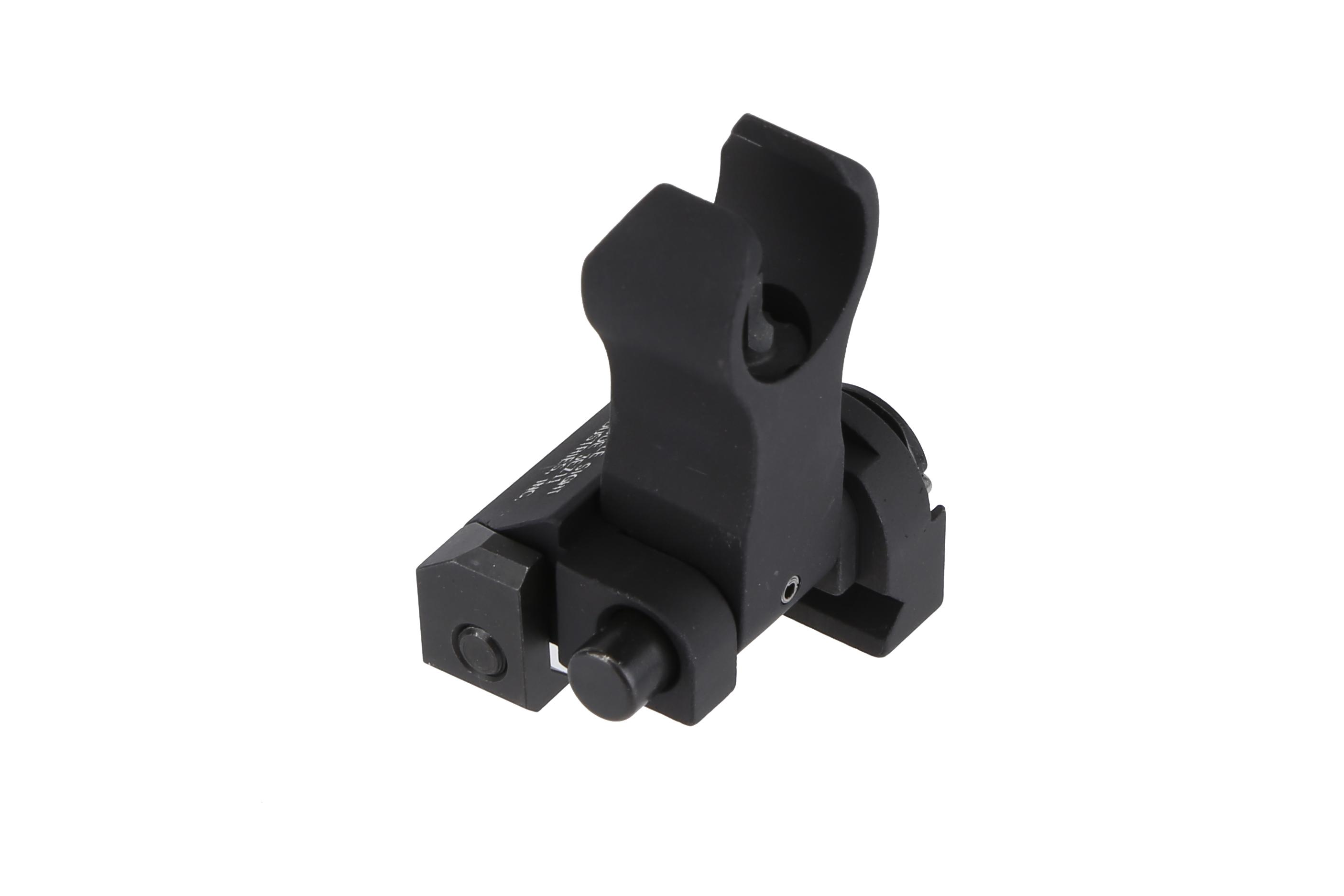 The Troy folding front Battle Sight is black hardcoat anodized