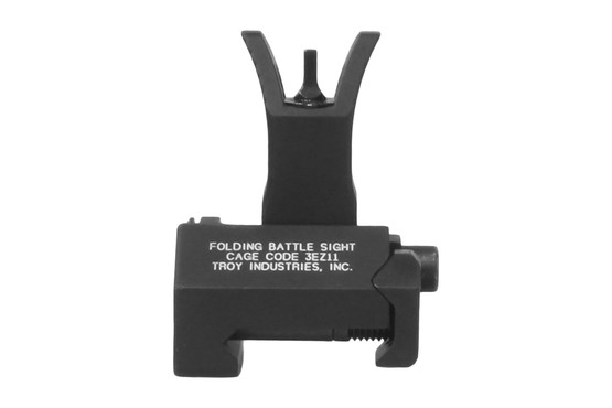 The Troy Industries folding front battle sight features the M4 style and has a black hardcoat anodized finish
