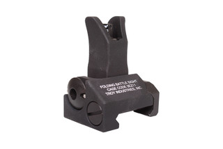 The Troy Industries folding front Battle Sight features a green Tritium lamp for shooting at night