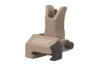 The Troy Industries folding battle sight features an M4 style front sight post and a flat dark earth finish