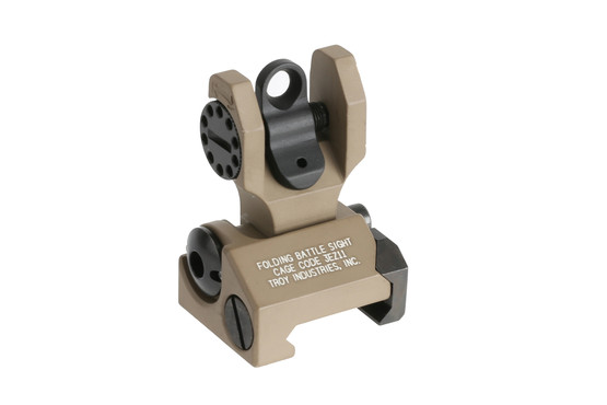The Troy Industries rear folding battle sight features a round aperture for precise aiming