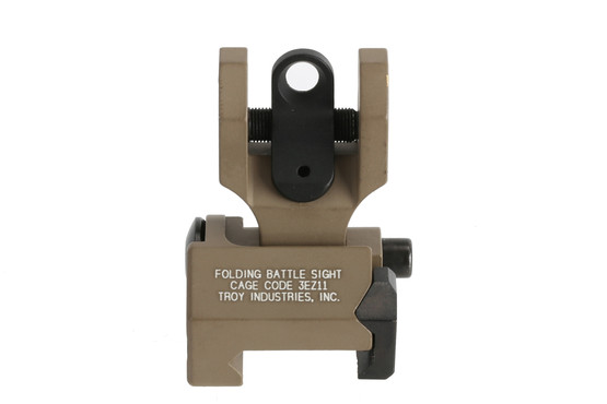 The Troy rear folding battlesight features a flat dark earth anodized finish
