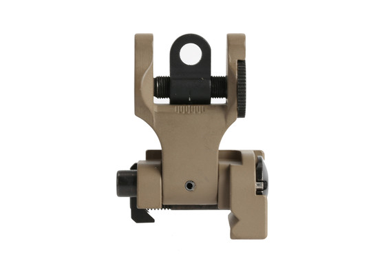 The Troy Industries folding battle sight rear aperture is windage adjustable