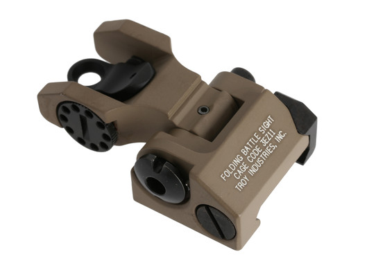The Troy Industries rear battle sight folds to be extremely low profile and snag free