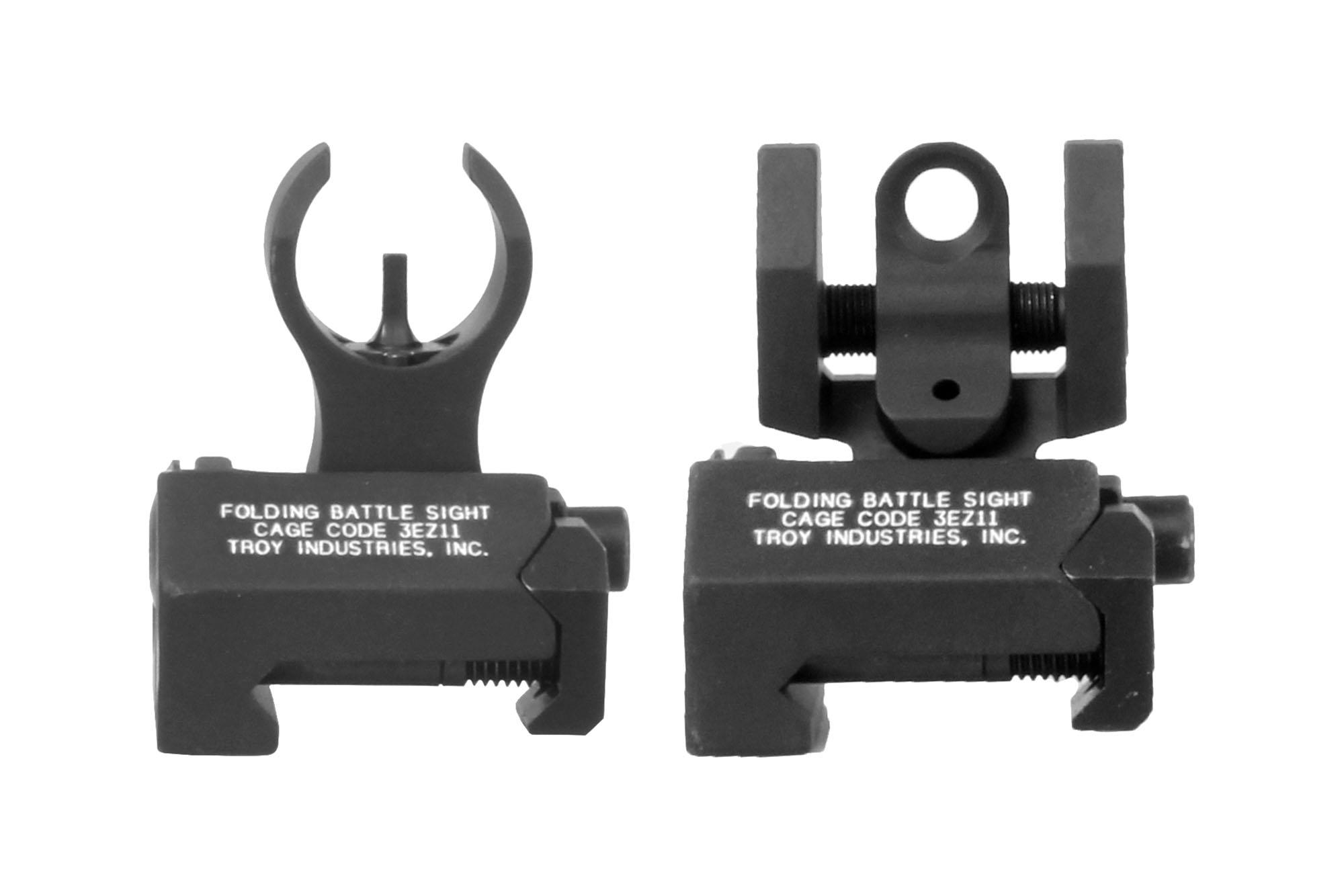 Troy Industries Micro BattleSight Set - HK Front and Round Rear - Black - Tritium