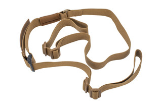Troy Industries 2 point sling flat dark earth features a non-padded design with a quick pull adjustment tab