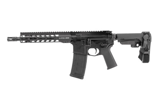 Stag Arms Stag15 AR15 pistol tactical model features an SB Tactical collapsible arm brace.