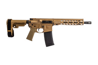 "Stag Arms STAG15 Tactical AR 15 pistol in 5.56 NATOwith FDE cerakote finish and 10.5"" barrel."