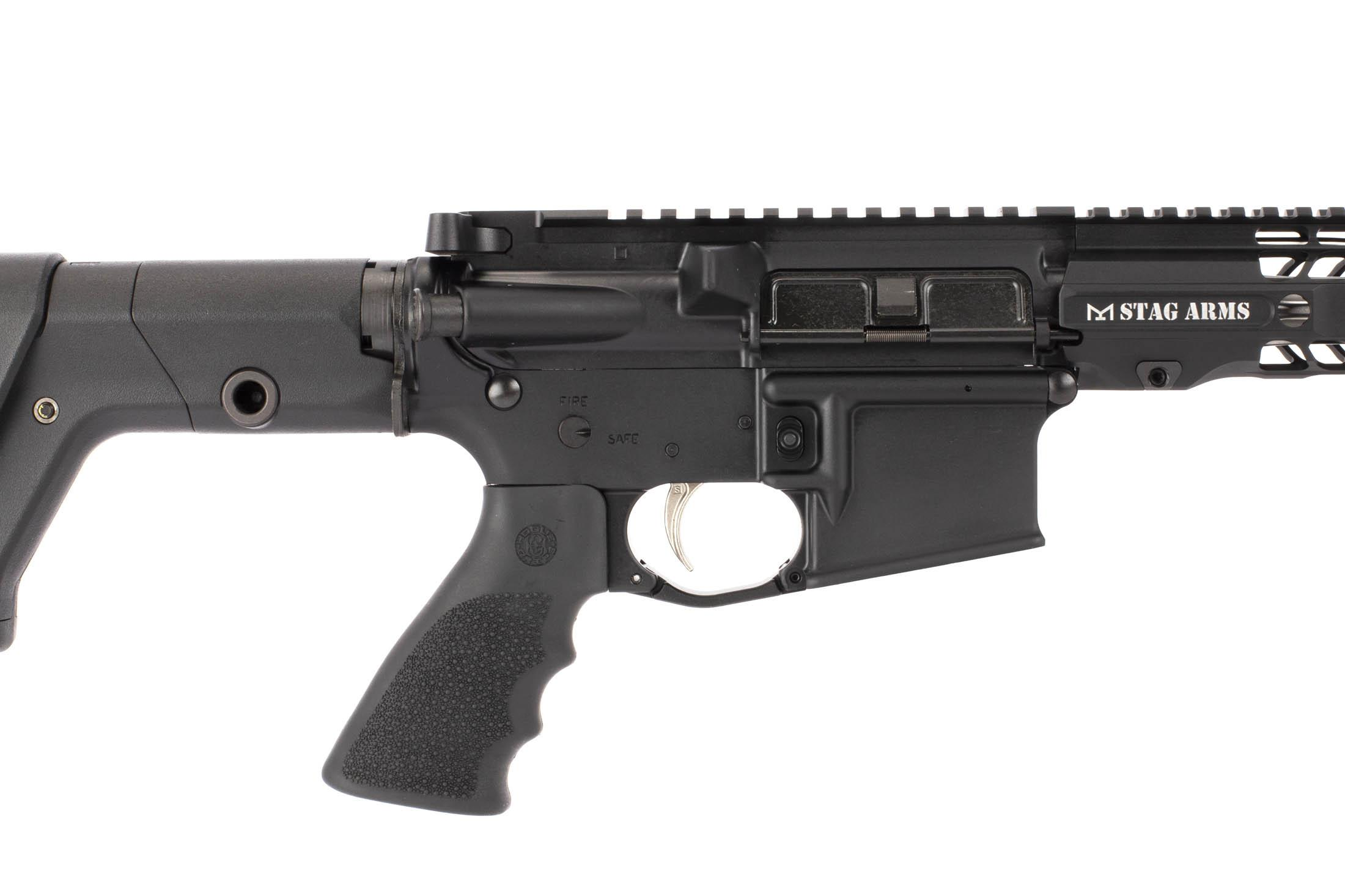 Stag Arms .224 Valkyrie AR-15 features a Hogue pistol grip and Nickel Boron trigger.