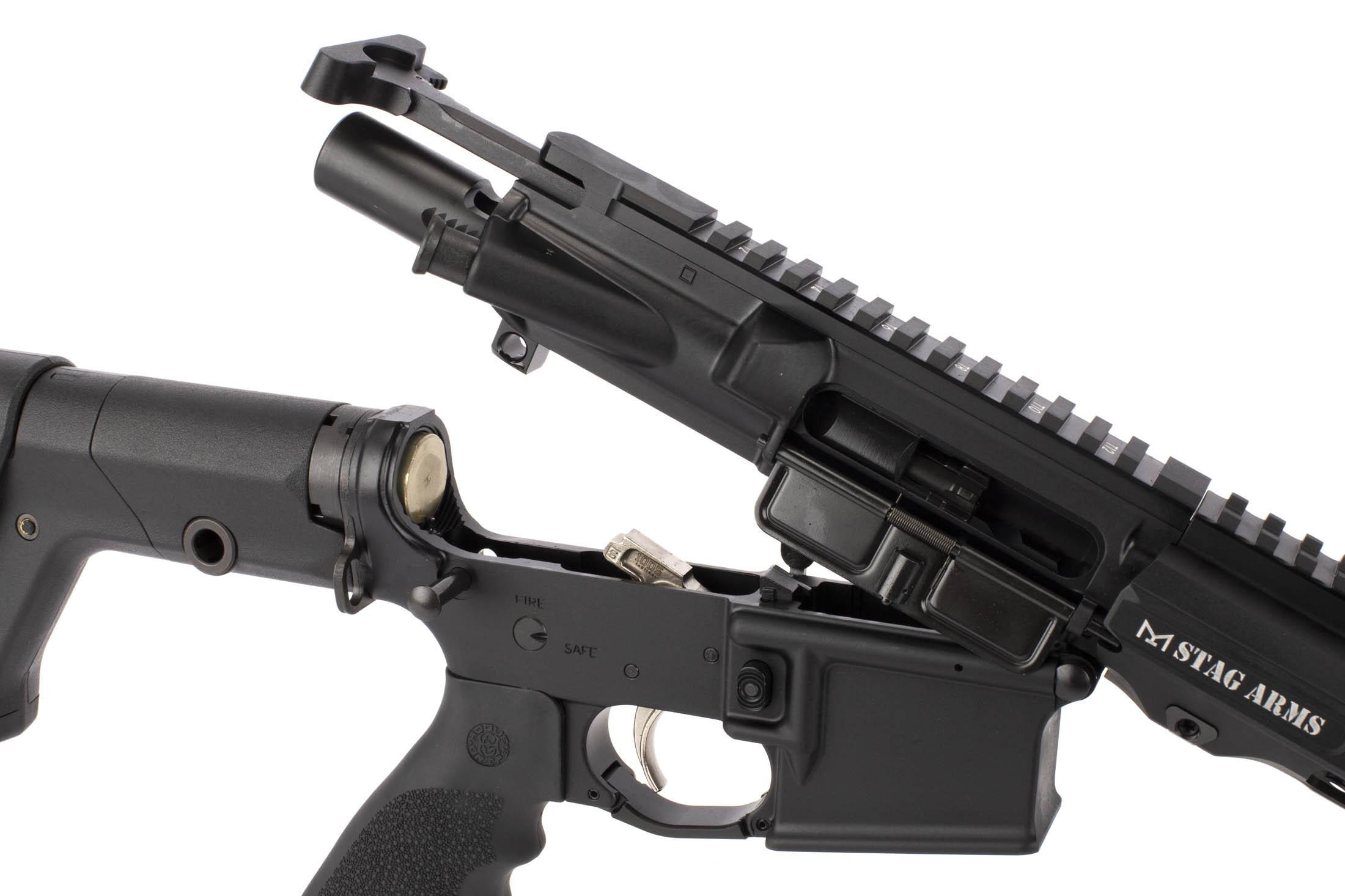 Stag Arms 18 inch .224 Valkyrie rifle uses a standard carbine buffer and M16 bolt carrier group