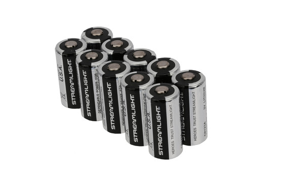 The Streamlight CR123A 3V batteries come in a pack of 10 with a 10 year shelf life