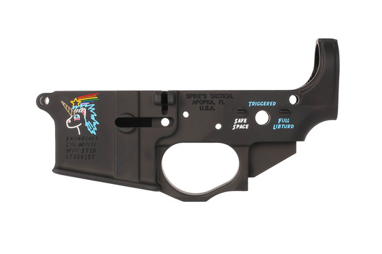 Spike's Tactical stripped AR-15 lower with color filled Snowflake the Tactical Unicorn rollmark