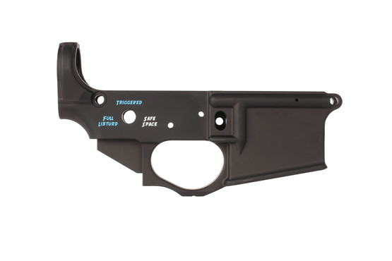 Spike's Tactical Snowflake AR-15 lower receiver features Safe Space, Triggered, and Full Libturd selector markings
