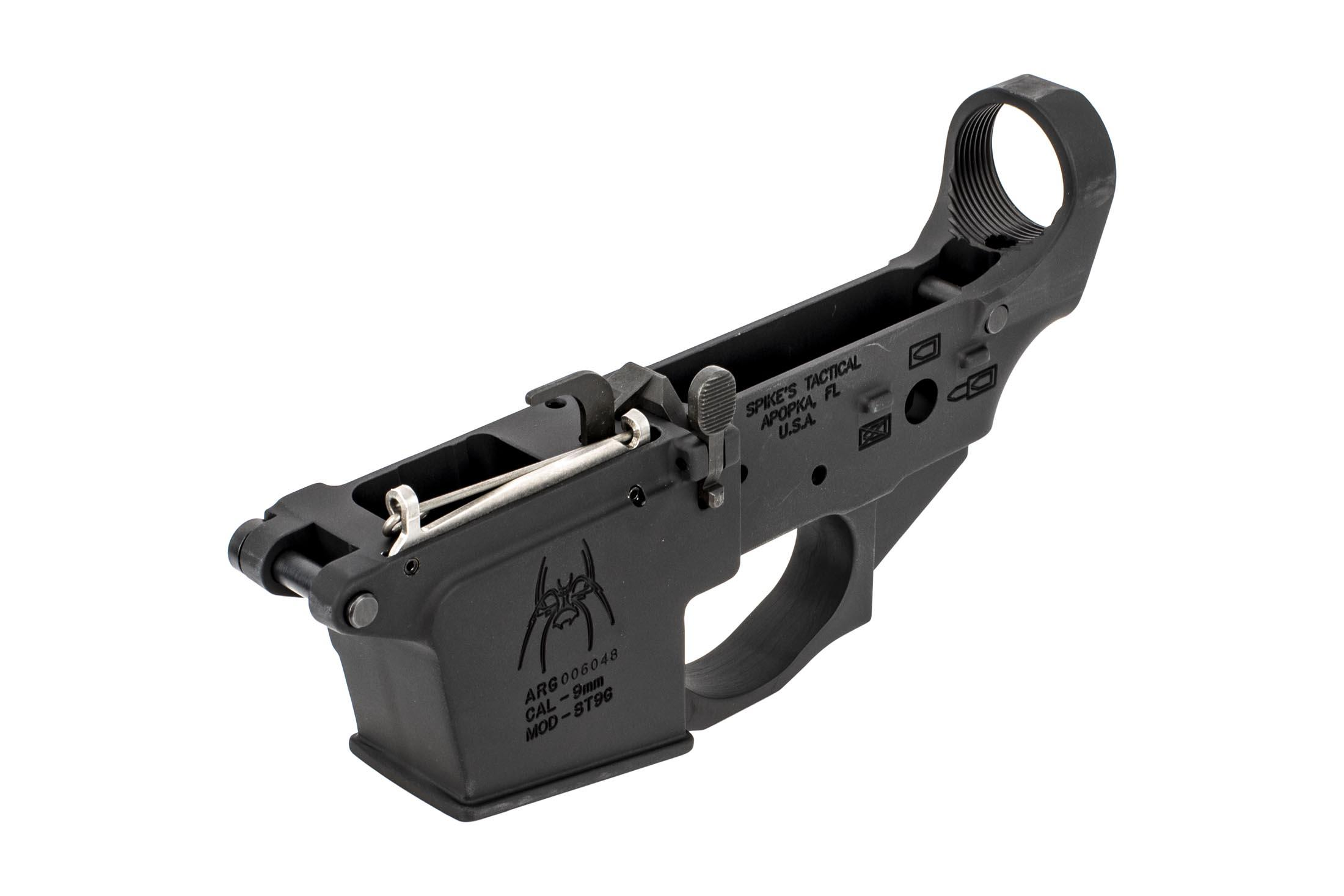 The Spike's Tactical Spider 9mm Lower is compatible with glock magazines