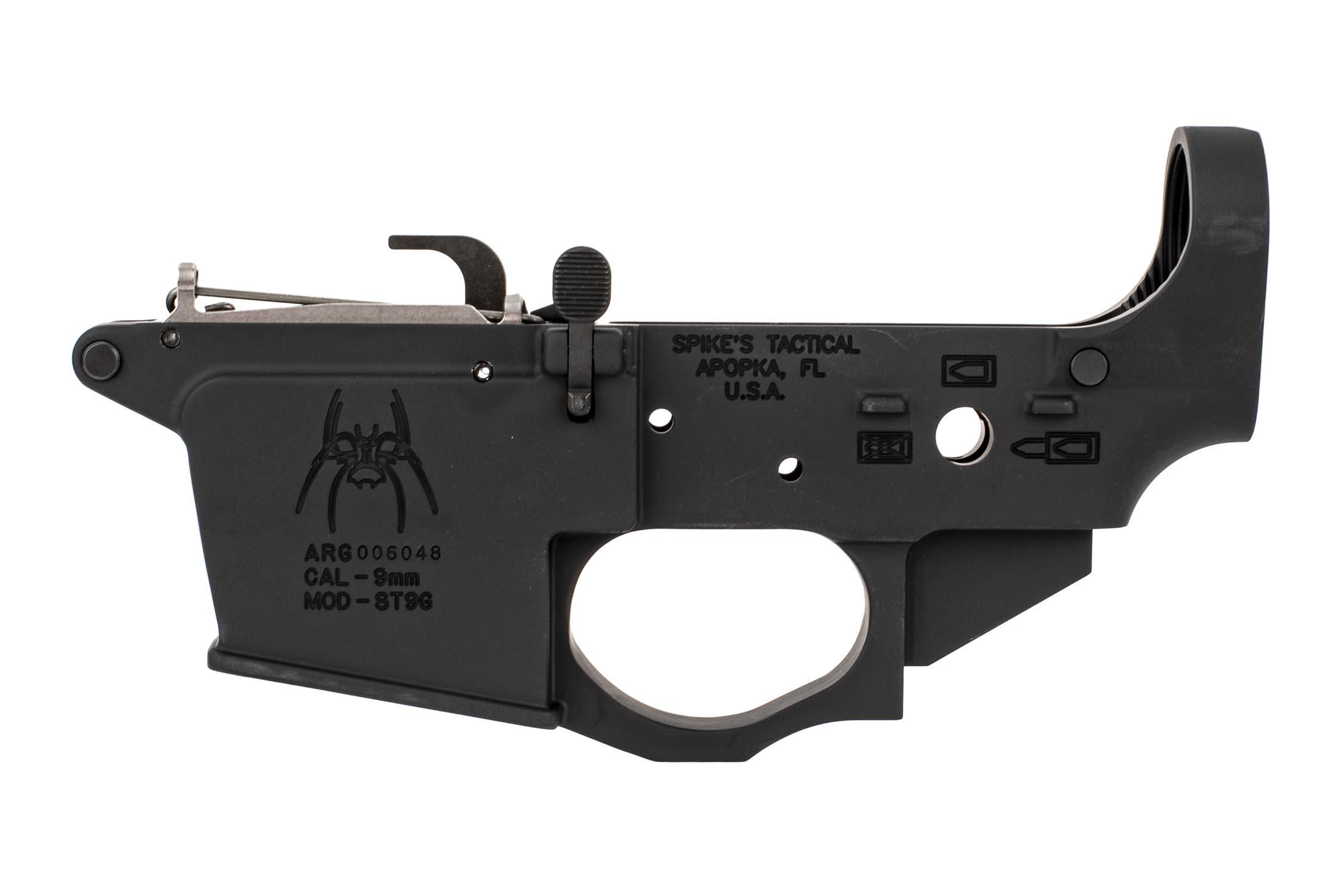 The Spike's Tactical Spider 9mm Lower receiver with bolt release and ejector
