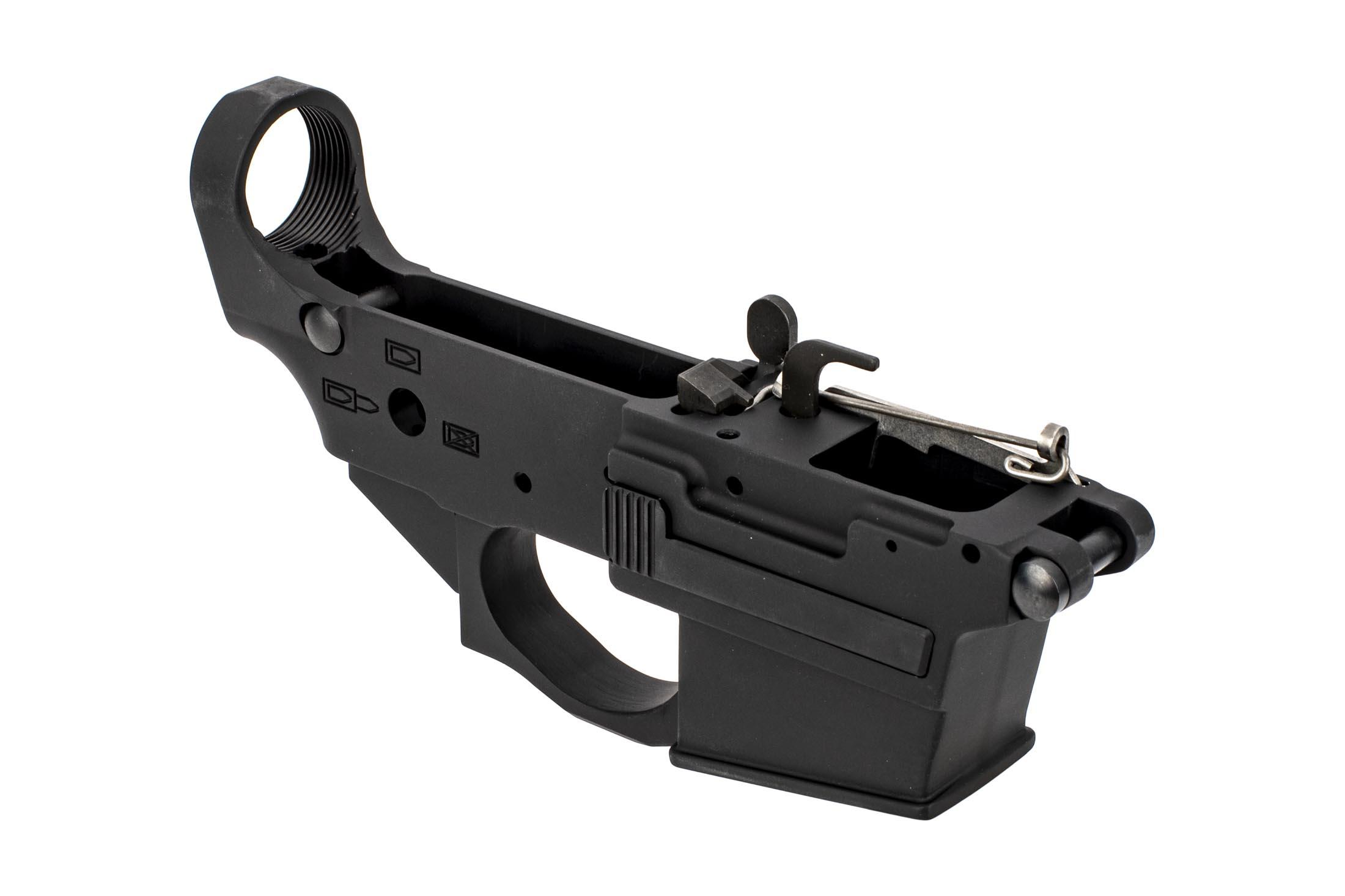 The Spike's Tactical Spider 9mm Lower receiver with enlarged magazine release button