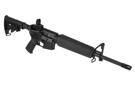 The Spikes Tactical AR15 5.56 rifle features a mid-length gas system and M4 handguard