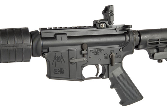 The Spikes Tactical 5.56 AR15 with 14.5 inch barrel features a mid-length gas system