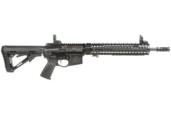 The Spike's Tactical Crusader Rifle features a 14.5 inch barrel with pinned Dynacomp muzzle brake