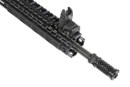 The Spikes Tactical Crusader AR15 with Dynacomp brake comes with Magpul back up iron sights