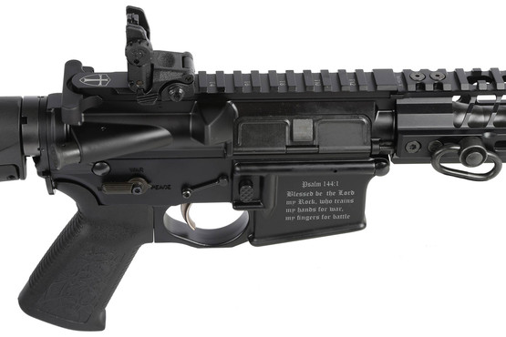 The Spikes Tactical 5.56 Crusader rifle has unique engravings on the both sides of the lower receiver