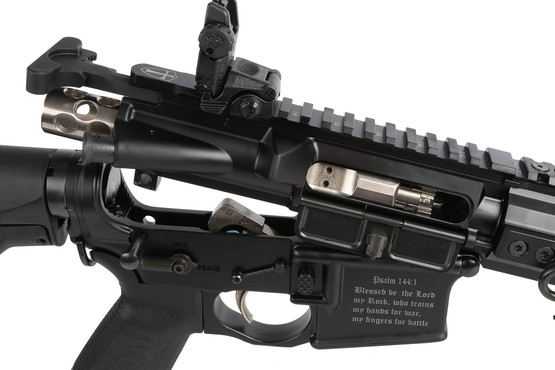 The Spikes Tactical Crusader 5.56 comes with a skeletonized bolt carrier group