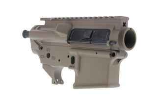 The Spikes Tactical Stripped AR15 lower and upper receiver set feature a flat dark earth Cerakote finish
