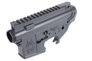 The Spikes Tactical lower and upper receiver set features a gray Cerakote finish