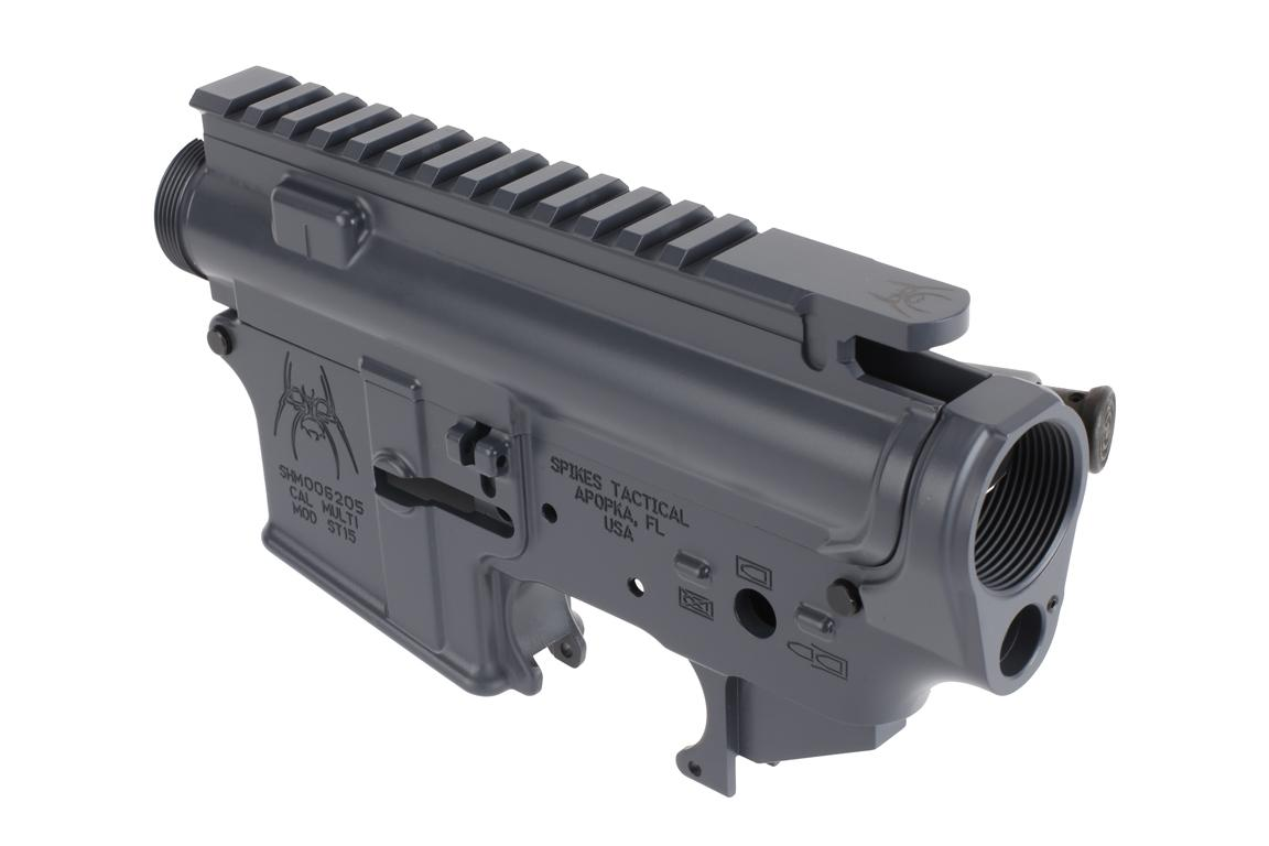The Spike's Tactical Stripped lower and upper receiver set with Gray Cerakote finish is RDIAS compatible