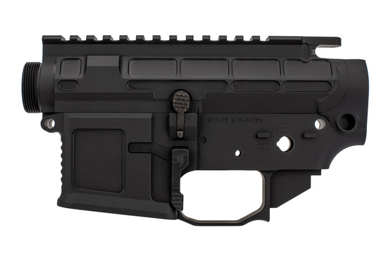 The San Tan Tactical AR15 billet receiver set features an enlarged trigger guard and magazine well